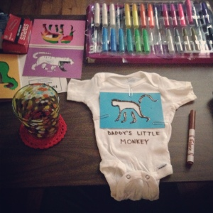 making onesie infant baby fabric marker puff paint craft
