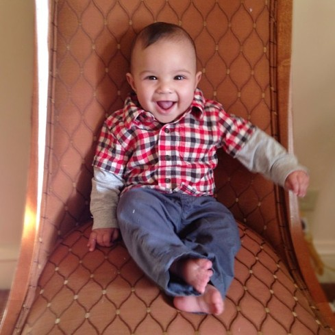 Henry in his first button-down shirt, ready for a day of touring Washington, DC.