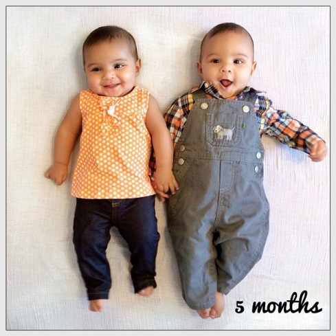 Now five months old, Julianne and Henry are able to roll over and are just starting to laugh. :)